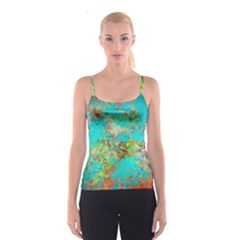 Abstract Garden In Aqua Spaghetti Strap Tops by theunrulyartist