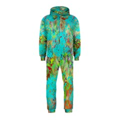 Abstract Garden In Aqua Hooded Jumpsuit (kids)
