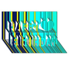 Hot Stripes Aqua Happy Birthday 3d Greeting Card (8x4)