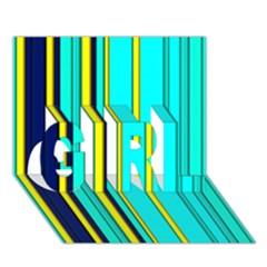 Hot Stripes Aqua Girl 3d Greeting Card (7x5)