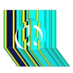 Hot Stripes Aqua Peace Sign 3d Greeting Card (7x5)