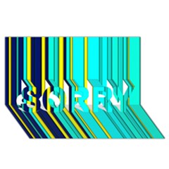 Hot Stripes Aqua Sorry 3d Greeting Card (8x4)