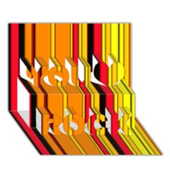 Hot Stripes Fire You Rock 3d Greeting Card (7x5)  by ImpressiveMoments