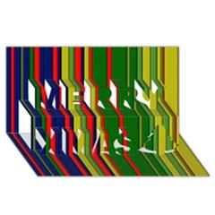 Hot Stripes Grenn Blue Merry Xmas 3d Greeting Card (8x4)  by ImpressiveMoments