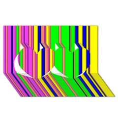Hot Stripes Rainbow Twin Hearts 3d Greeting Card (8x4)