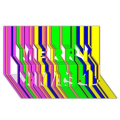 Hot Stripes Rainbow Merry Xmas 3d Greeting Card (8x4)  by ImpressiveMoments