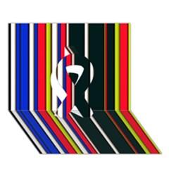 Hot Stripes Red Blue Ribbon 3d Greeting Card (7x5)