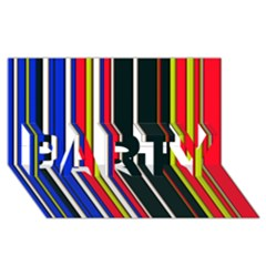Hot Stripes Red Blue Party 3d Greeting Card (8x4)