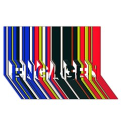 Hot Stripes Red Blue Engaged 3d Greeting Card (8x4)