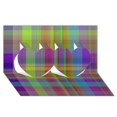 Plaid, Cool Twin Hearts 3d Greeting Card (8x4)