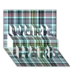 Plaid Ocean Work Hard 3d Greeting Card (7x5)