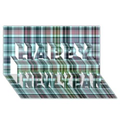 Plaid Ocean Happy New Year 3d Greeting Card (8x4)  by ImpressiveMoments