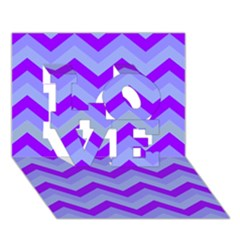Chevron Blue Love 3d Greeting Card (7x5)