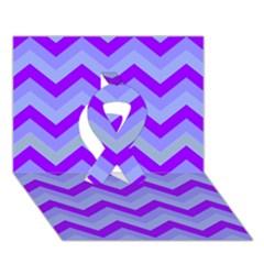 Chevron Blue Ribbon 3d Greeting Card (7x5)  by ImpressiveMoments