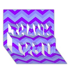 Chevron Blue Thank You 3d Greeting Card (7x5)