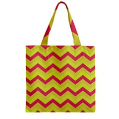 Chevron Yellow Pink Zipper Grocery Tote Bags by ImpressiveMoments