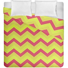 Chevron Yellow Pink Duvet Cover (king Size) by ImpressiveMoments