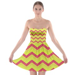 Chevron Yellow Pink Strapless Bra Top Dress