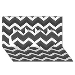 Chevron Dark Gray Twin Hearts 3d Greeting Card (8x4)