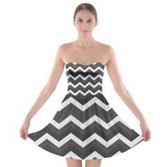 Chevron Dark Gray Strapless Bra Top Dress by ImpressiveMoments