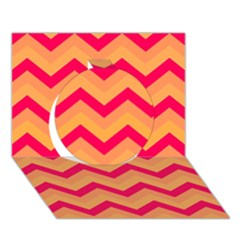 Chevron Peach Circle 3d Greeting Card (7x5)
