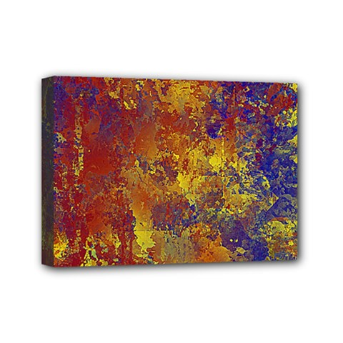 Abstract In Gold, Blue, And Red Mini Canvas 7  X 5  by theunrulyartist