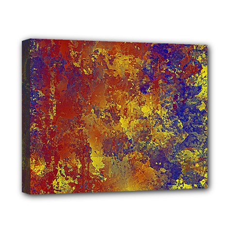 Abstract In Gold, Blue, And Red Canvas 10  X 8  by theunrulyartist