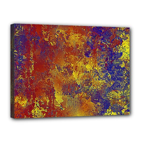 Abstract In Gold, Blue, And Red Canvas 16  X 12  by theunrulyartist