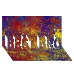 Abstract In Gold, Blue, And Red Best Bro 3d Greeting Card (8x4)