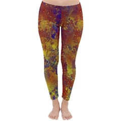 Abstract In Gold, Blue, And Red Winter Leggings