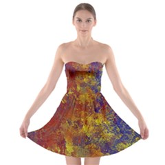 Abstract in Gold, Blue, and Red Strapless Bra Top Dress by theunrulyartist