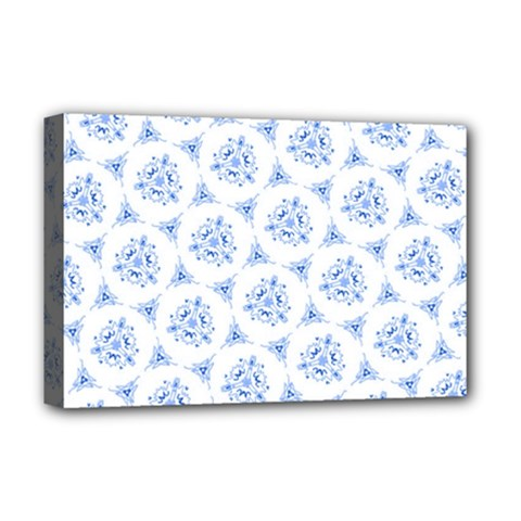 Sweet Doodle Pattern Blue Deluxe Canvas 18  X 12   by ImpressiveMoments
