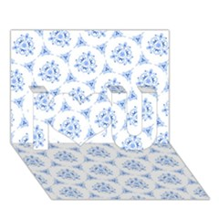 Sweet Doodle Pattern Blue I Love You 3d Greeting Card (7x5)