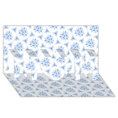Sweet Doodle Pattern Blue Mom 3d Greeting Card (8x4)