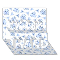 Sweet Doodle Pattern Blue Work Hard 3d Greeting Card (7x5)  by ImpressiveMoments