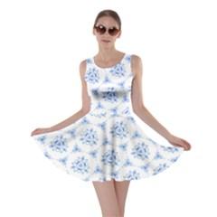 Sweet Doodle Pattern Blue Skater Dresses