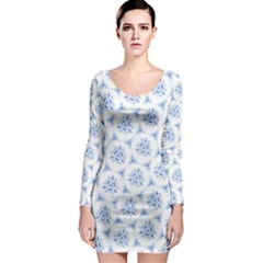 Sweet Doodle Pattern Blue Long Sleeve Bodycon Dresses