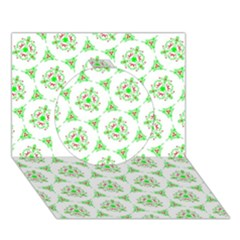 Sweet Doodle Pattern Green Circle 3d Greeting Card (7x5)