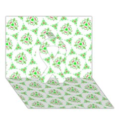 Sweet Doodle Pattern Green Ribbon 3d Greeting Card (7x5)  by ImpressiveMoments