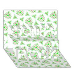 Sweet Doodle Pattern Green You Rock 3d Greeting Card (7x5)  by ImpressiveMoments