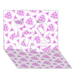 Sweet Doodle Pattern Pink Love 3d Greeting Card (7x5)