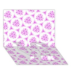 Sweet Doodle Pattern Pink Love Bottom 3d Greeting Card (7x5)  by ImpressiveMoments