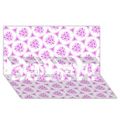 Sweet Doodle Pattern Pink Believe 3d Greeting Card (8x4)  by ImpressiveMoments