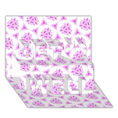 Sweet Doodle Pattern Pink Get Well 3d Greeting Card (7x5)  by ImpressiveMoments