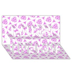 Sweet Doodle Pattern Pink Laugh Live Love 3d Greeting Card (8x4)