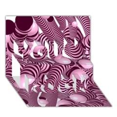 Doodle Fun Pink You Rock 3d Greeting Card (7x5)