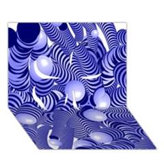 Doodle Fun Blue Clover 3d Greeting Card (7x5)