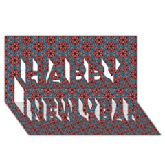 Cute Seamless Tile Pattern Gifts Happy New Year 3d Greeting Card (8x4)  by creativemom