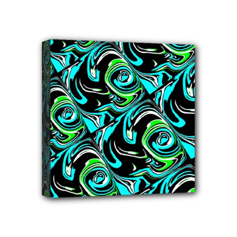 Bright Aqua, Black, And Green Design Mini Canvas 4  X 4  by theunrulyartist