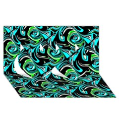 Bright Aqua, Black, And Green Design Twin Hearts 3d Greeting Card (8x4)